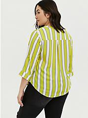 Harper - Lime Green Stripe Georgette Pullover Blouse , STRIPES, alternate