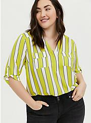 Harper - Lime Green Stripe Georgette Pullover Blouse , STRIPES, hi-res