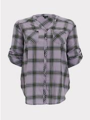 Slate Grey Plaid Button Front Tunic, PLAID - GREY, hi-res