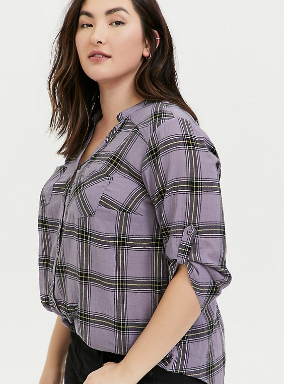 Slate Grey Plaid Button Front Tunic, , hi-res