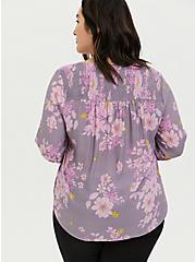 Plus Size Slate Grey & Purple Floral Crepe Smocked Blouse, FLORALS-GREY, alternate