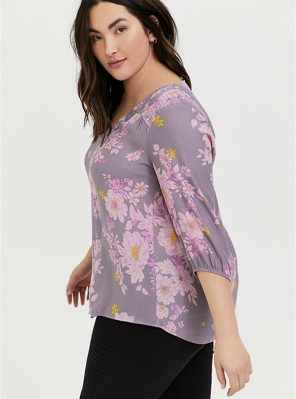 Slate Grey & Purple Floral Crepe Smocked Blouse, FLORALS-GREY, hi-res