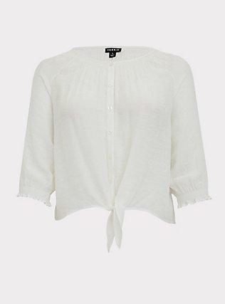 White Gauze Tie Button Front Smocked Midi Blouse, CLOUD DANCER, flat