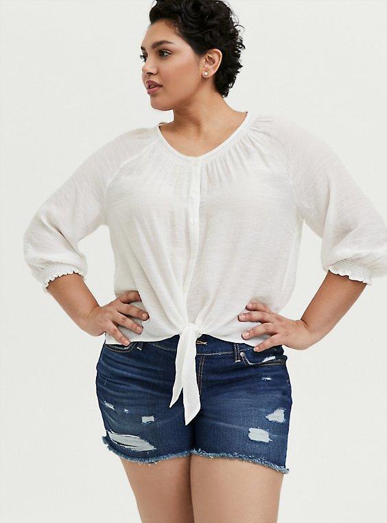 Plus Size White Gauze Tie Front Smocked Midi Blouse, , hi-res