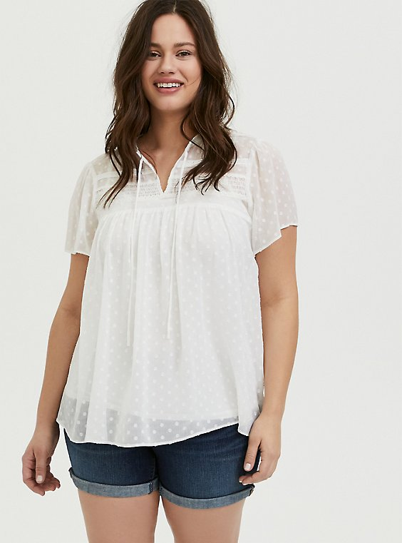 White Swiss Dot Crinkle Gauze Peasant Blouse, , hi-res