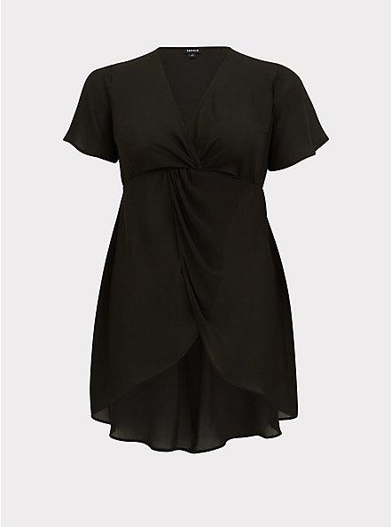 Plus Size Black Georgette Twist Front Hi-Lo Top, DEEP BLACK, hi-res
