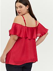 Fuchsia Pink Textured Chiffon Cold Shoulder Top, PASSION PINK, alternate