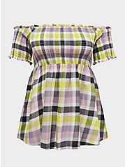 Plus Size Multi Plaid Smocked Off Shoulder Peplum Top, PLAID - IVORY, hi-res