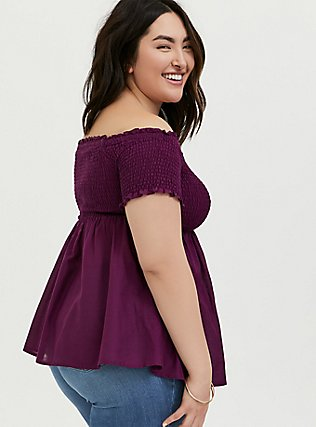 Berry Purple Smocked Off Shoulder Peplum Top, DARK PURPLE, alternate