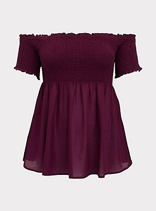 Berry Purple Smocked Off Shoulder Peplum Top, DARK PURPLE, flat