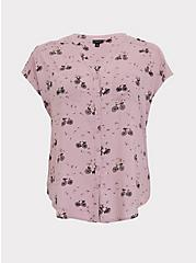 Mauve Pink Challis Bicycle Print Dolman Blouse, MULTI, hi-res