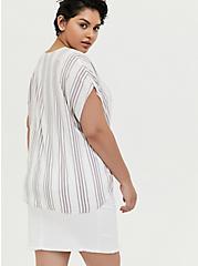 White & Slate Grey Stripe Challis Tie Front Midi Dolman Top, STRIPES, alternate