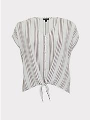 White & Slate Grey Stripe Challis Tie Front Midi Dolman Top, STRIPES, hi-res