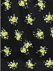 Black Lemon Print Challis Button Front Shirt, LEMONS - BLACK, alternate