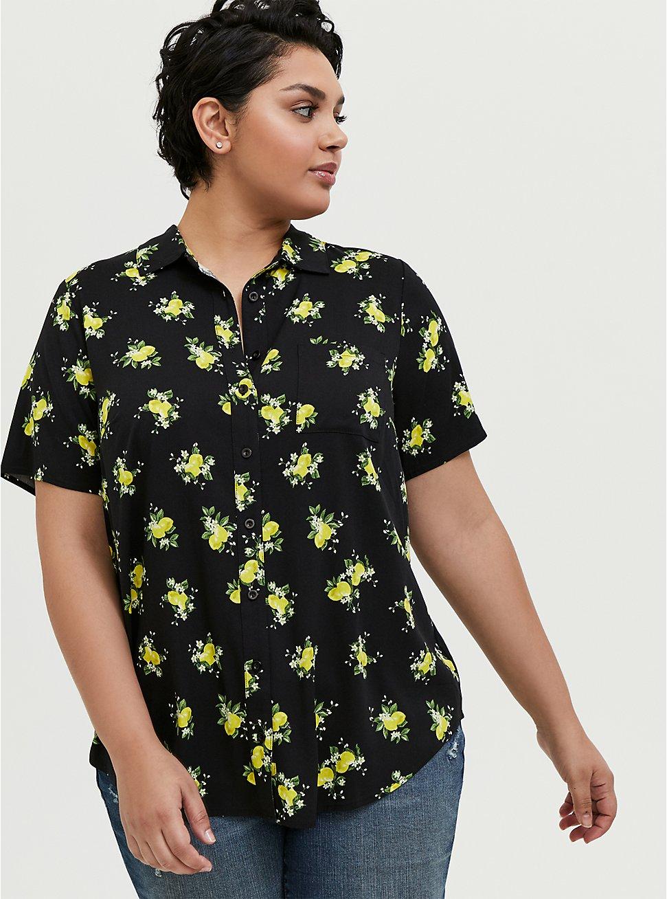 Black Lemon Print Challis Button Front Shirt, LEMONS - BLACK, hi-res