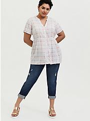 White & Multi Plaid Challis Button Front Babydoll Top, MULTI, alternate