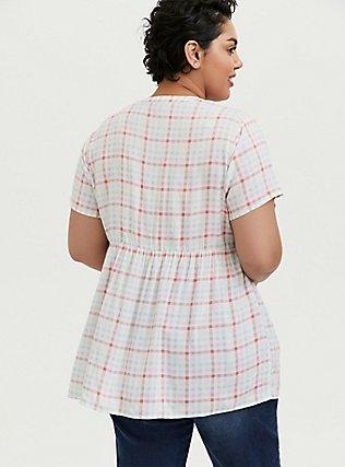 Plus Size White & Multi Plaid Challis Button Front Babydoll Top, MULTI, alternate