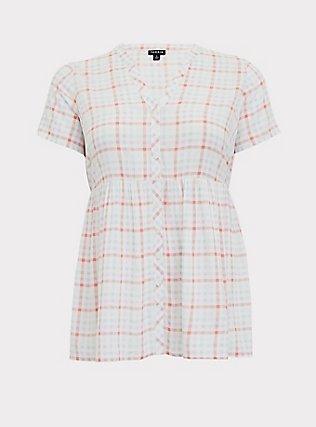 Plus Size White & Multi Plaid Challis Button Front Babydoll Top, MULTI, flat