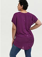 Plus Size Plum Purple Button Back Hi-Lo Dolman Blouse, DARK PURPLE, alternate