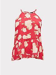 Fuchsia Pink Floral Georgette Drop Waist Hi-Lo Cami, , hi-res