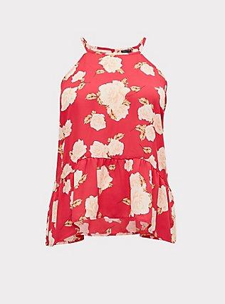 Fuchsia Pink Floral Georgette Drop Waist Hi-Lo Cami, , flat