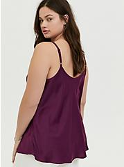 Plum Purple Textured Charmeuse Cowl Neck Cami, DARK PURPLE, alternate