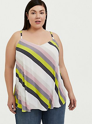 Sophie - Multi Stripe Crinkle Gauze Swing Cami, STRIPES, hi-res