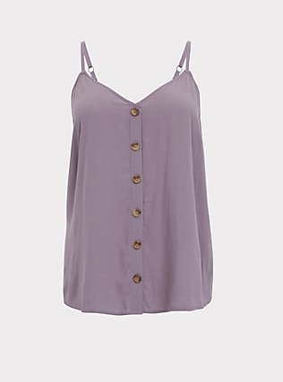 Slate Grey Button Front Cami, GRAY RIDGE, flat