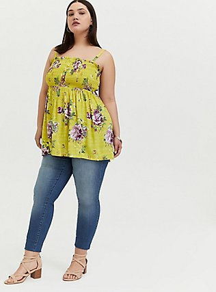 Plus Size Lime Green Floral Challis Smocked Babydoll Tunic Cami, FLORALS-YELLOW, alternate
