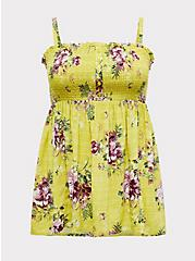 Plus Size Lime Green Floral Challis Smocked Babydoll Tunic Cami, FLORALS-YELLOW, hi-res