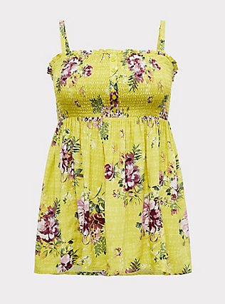 Plus Size Lime Green Floral Challis Smocked Babydoll Tunic Cami, FLORALS-YELLOW, flat