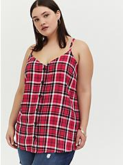 Fuchsia Pink Plaid Button Front Cami, , hi-res