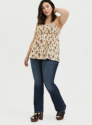 Plus Size Ivory Floral Challis Smocked Strapless Babydoll Crop Top, , alternate