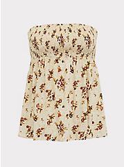 Beige Floral Challis Smocked Strapless Babydoll Top, , hi-res