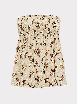 Plus Size Ivory Floral Challis Smocked Strapless Babydoll Crop Top, , flat
