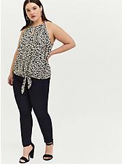 Leopard Challis Tie Front High Neck Midi Cami, , alternate