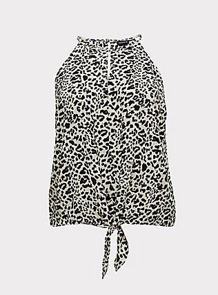 Plus Size Leopard Challis Tie-Front High Neck Midi Cami, , flat