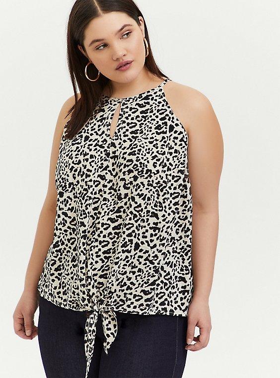 Leopard Challis Tie Front High Neck Midi Cami, , hi-res