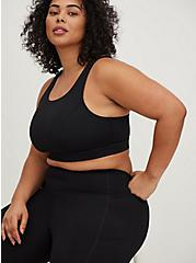 Black Lattice & Mesh Inset Crop Wicking Active Legging with Pockets, DEEP BLACK, alternate