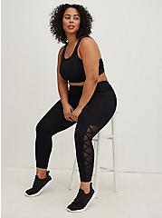 Black Lattice & Mesh Inset Crop Wicking Active Legging with Pockets, DEEP BLACK, hi-res
