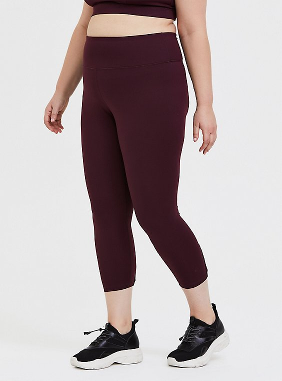 Burgundy Purple Lattice Back Crop Wicking Active Legging , , hi-res