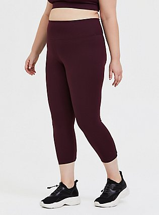 Plus Size Burgundy Purple Lattice Back Crop Wicking Active Legging , BURGUNDY, hi-res