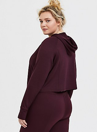 Burgundy Purple Terry Crop Active Hoodie, BURGUNDY, alternate