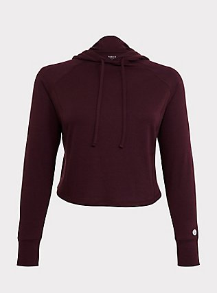 Burgundy Purple Terry Crop Active Hoodie, BURGUNDY, flat