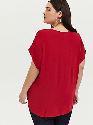 Disney Mulan Red Crepe Embroidered Tie Front Flutter Sleeve Blouse, JESTER RED, alternate