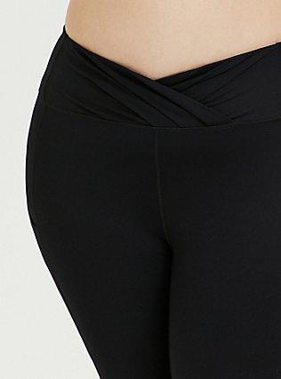 Plus Size Black Surplice Front Crop Wicking Active Legging with Pockets, DEEP BLACK, alternate