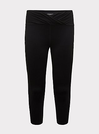 Plus Size Black Surplice Front Crop Wicking Active Legging with Pockets, DEEP BLACK, flat