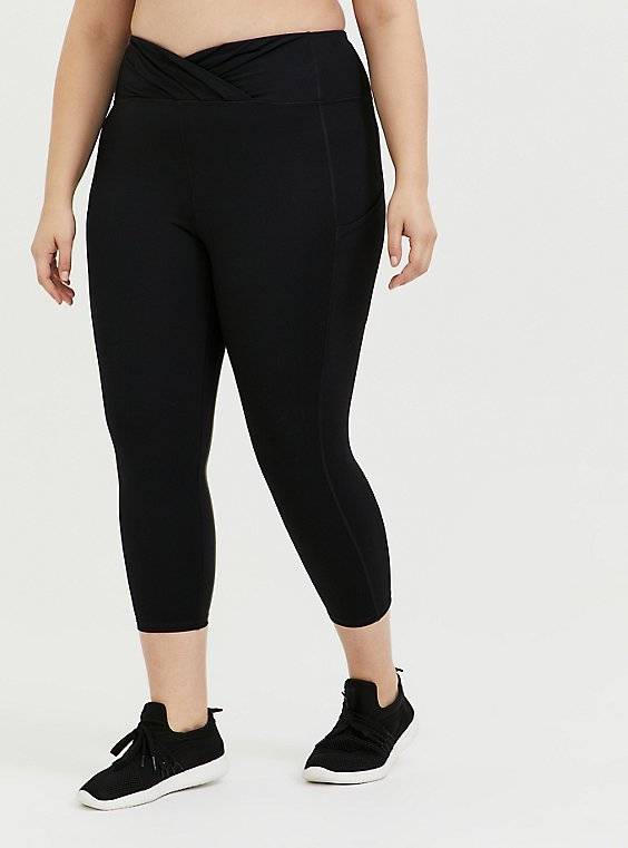Plus Size Black Surplice Front Crop Wicking Active Legging with Pockets, , hi-res