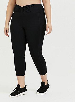 Plus Size Black Surplice Front Crop Wicking Active Legging with Pockets, DEEP BLACK, hi-res