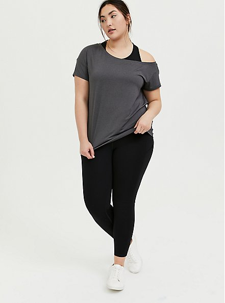 Dark Grey Off Shoulder Wicking Active Tee, GREY, alternate